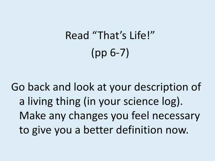 "Read ""That's Life!"""