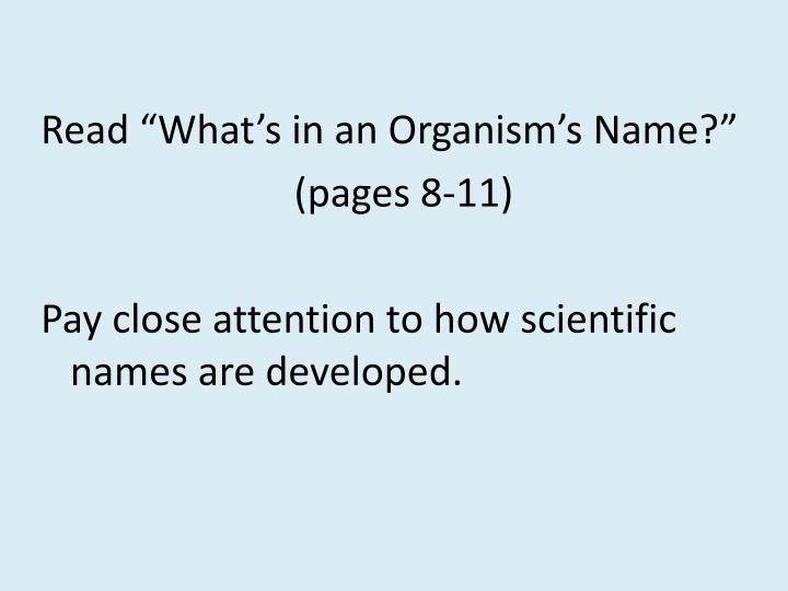 "Read ""What's in an Organism's Name?"""