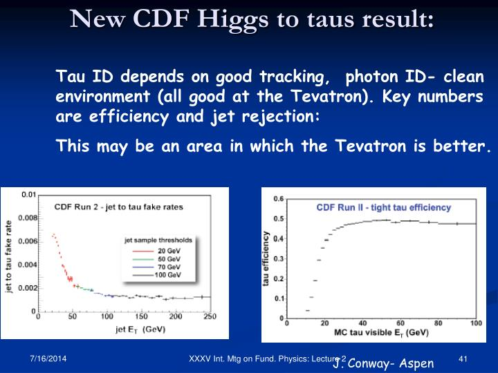 Tau ID depends on good tracking,  photon ID- clean environment (all good at the Tevatron). Key numbers are efficiency and jet rejection: