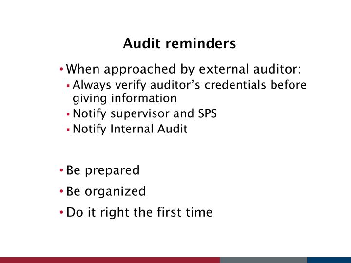 Audit reminders