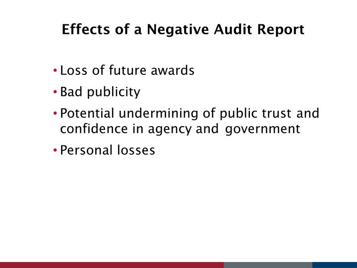 Effects of a Negative Audit Report