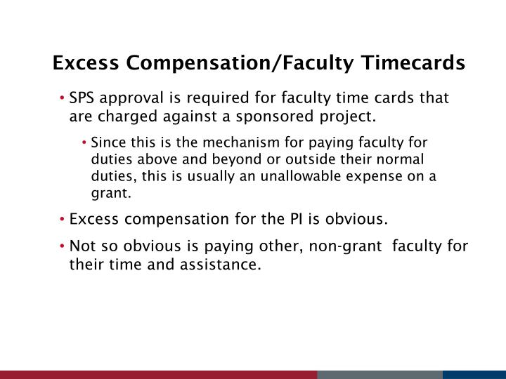 Excess Compensation/Faculty Timecards