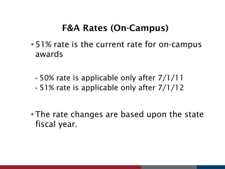 F&A Rates (On-Campus)