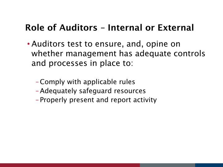 Role of Auditors – Internal or External