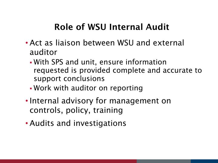 Role of WSU Internal Audit