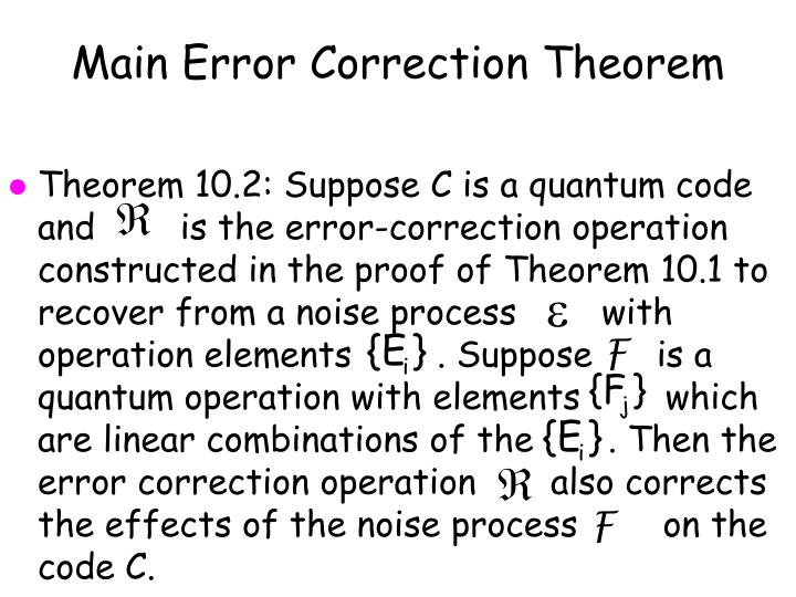 Main Error Correction Theorem
