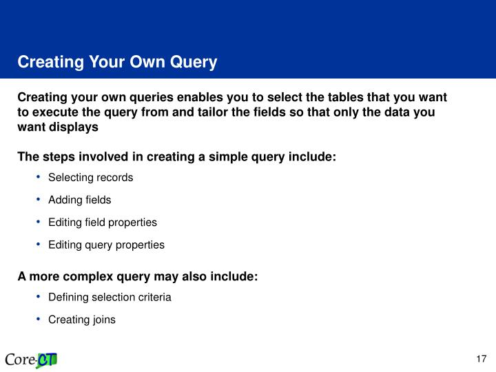 Creating Your Own Query