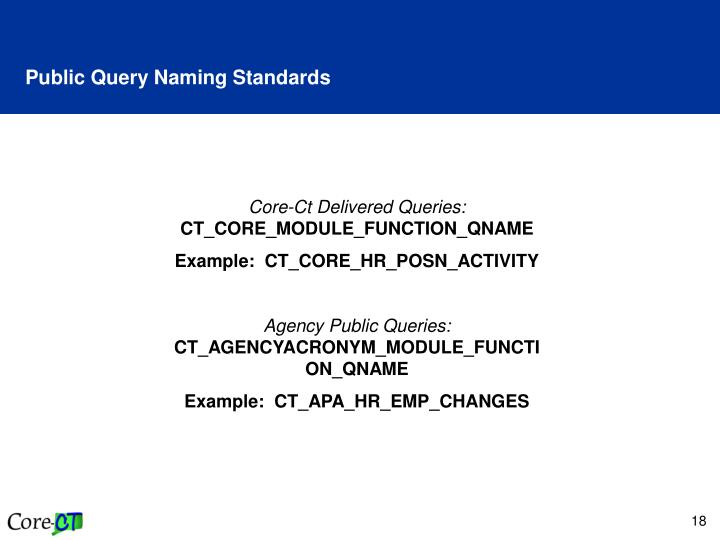 Public Query Naming Standards