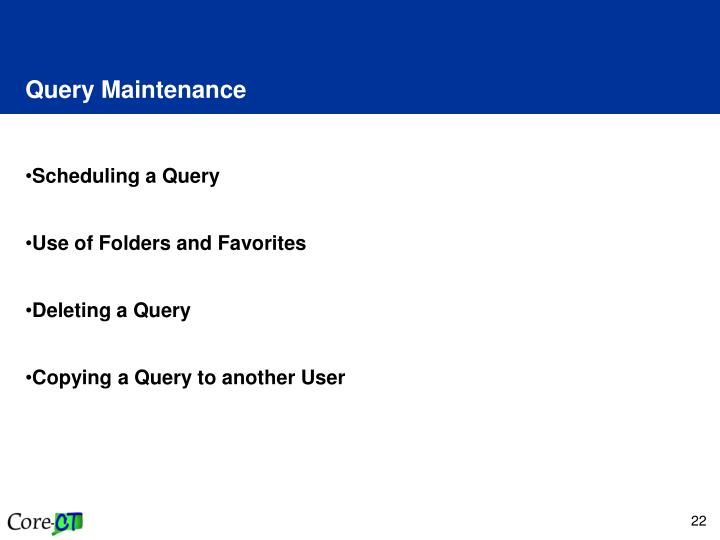 Query Maintenance