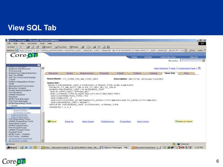 View SQL Tab