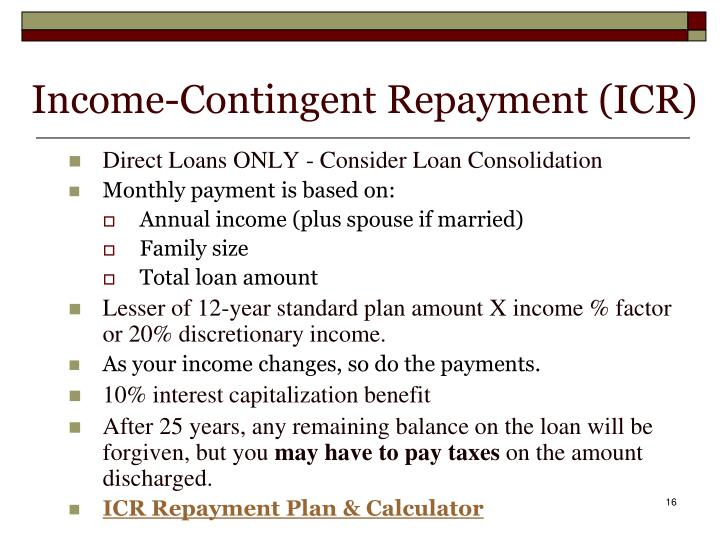 Income-Contingent Repayment (ICR)