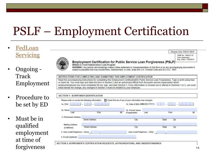 PSLF – Employment Certification