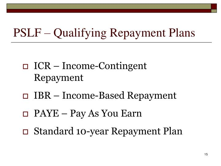 PSLF – Qualifying Repayment Plans