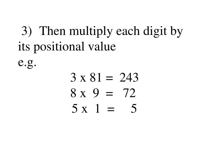 3)Then multiply each digit by its positional value