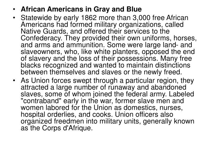 African Americans in Gray and Blue