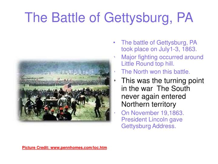 The Battle of Gettysburg, PA