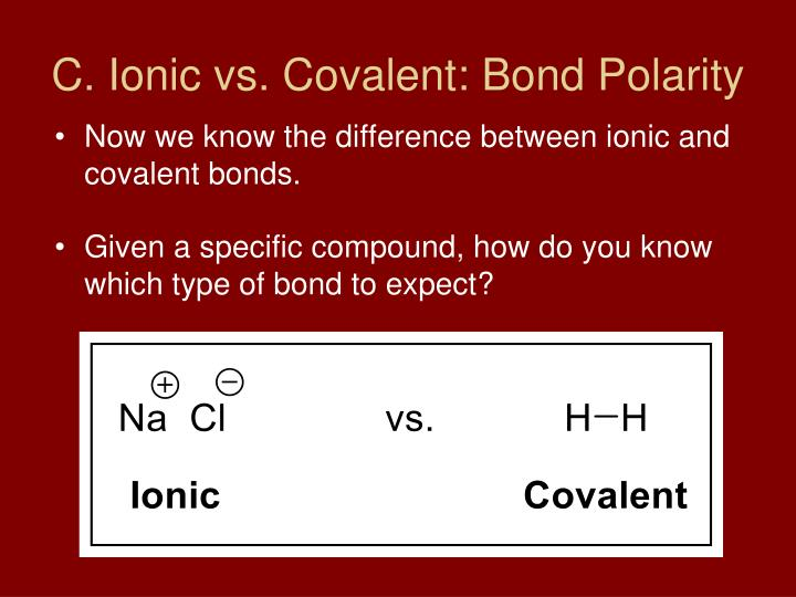 C. Ionic vs. Covalent: Bond Polarity