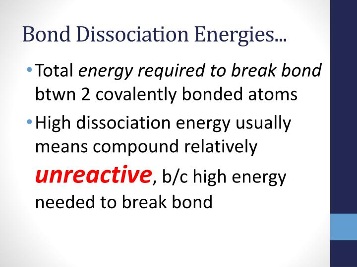 Bond Dissociation Energies...