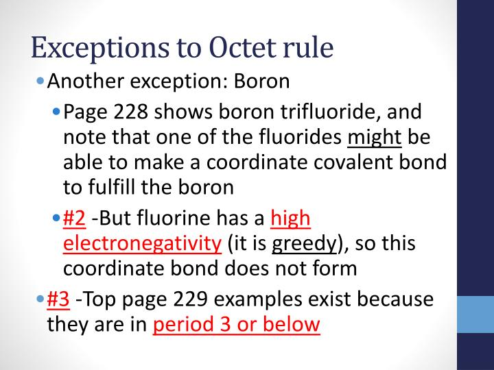 Exceptions to Octet rule