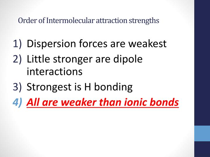 Order of Intermolecular attraction strengths