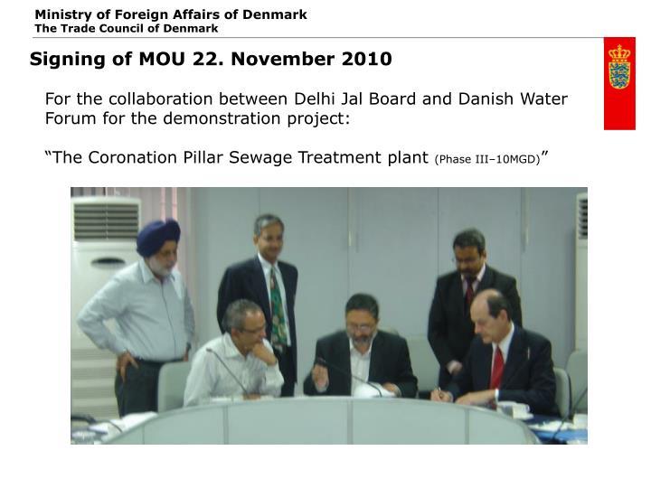 Signing of MOU 22. November 2010