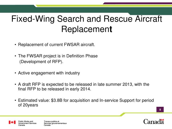 Fixed-Wing Search and Rescue Aircraft Replacemen
