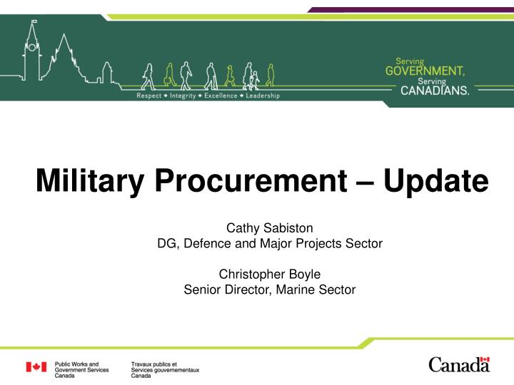 Military Procurement – Update
