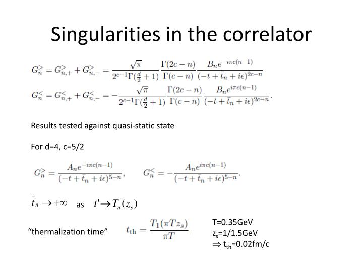 Singularities in the correlator