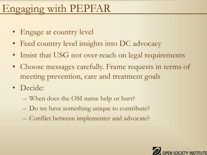 Engaging with PEPFAR