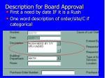 description for board approval