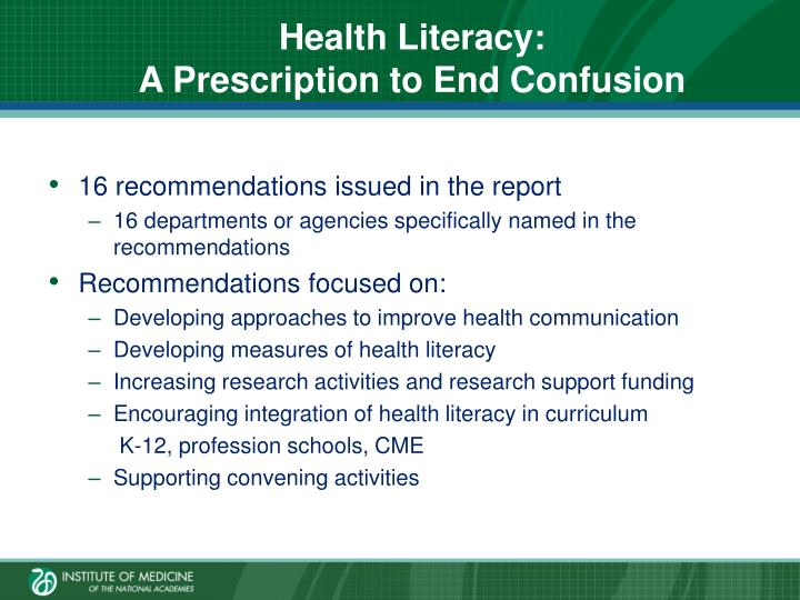 Health Literacy: