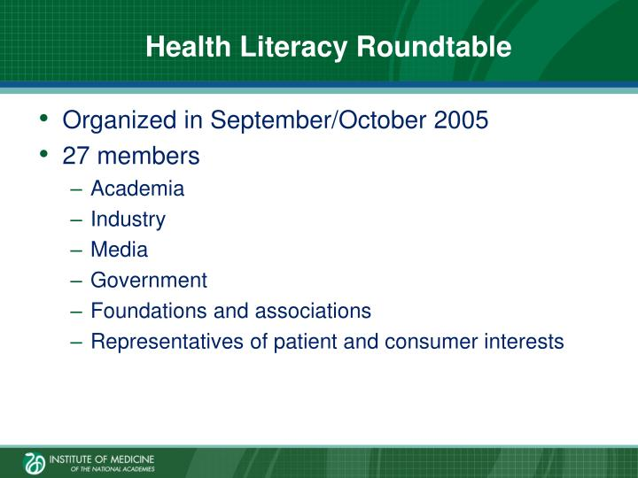 Health Literacy Roundtable