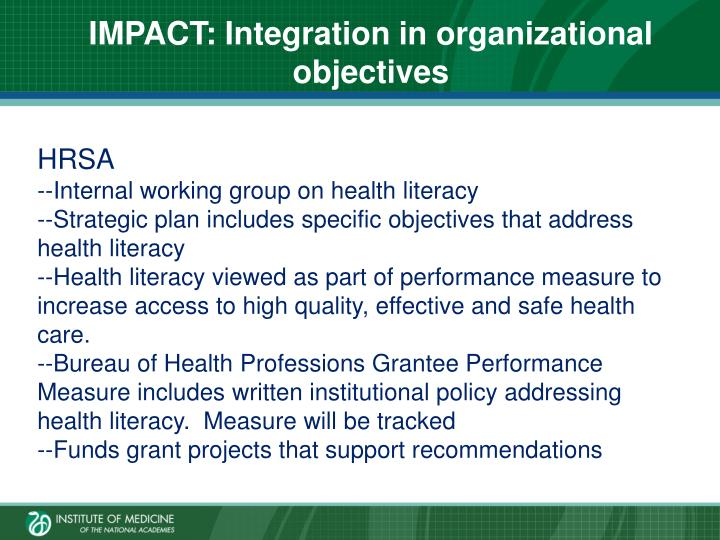 IMPACT: Integration in organizational objectives