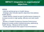 impact integration in organizational objectives