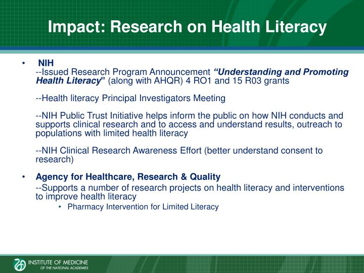Impact: Research on Health Literacy