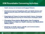 iom roundtable convening activities