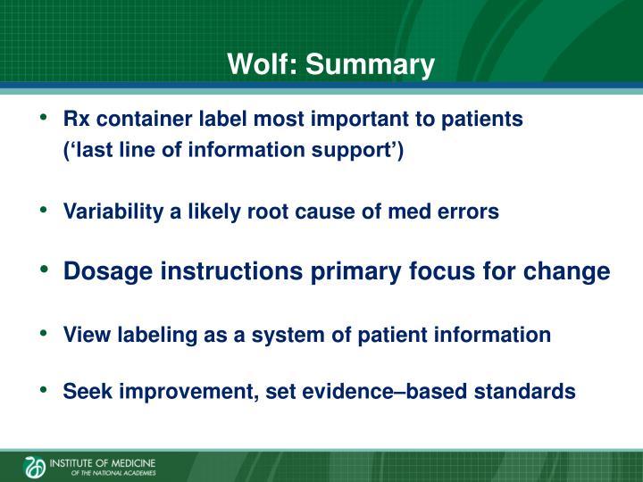 Wolf: Summary