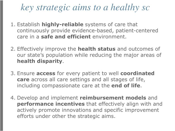 key strategic aims to a healthy sc