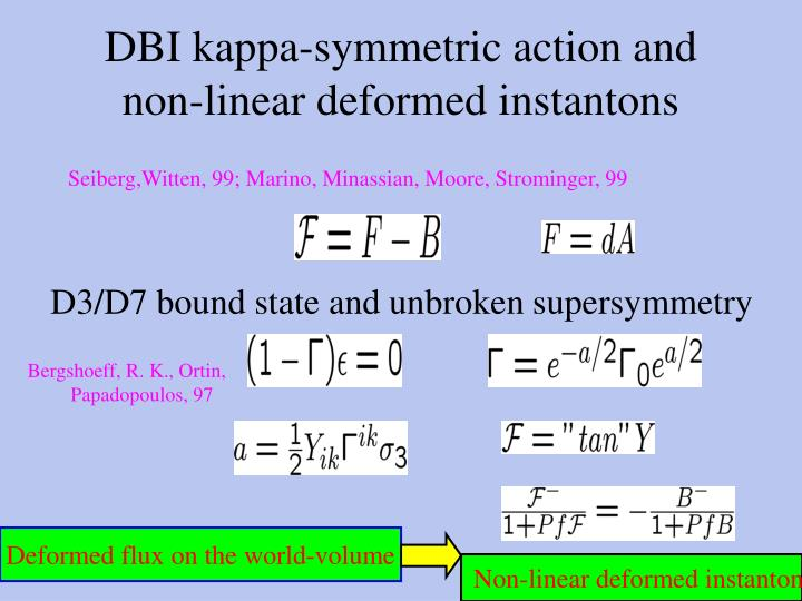 DBI kappa-symmetric action and non-linear deformed instantons