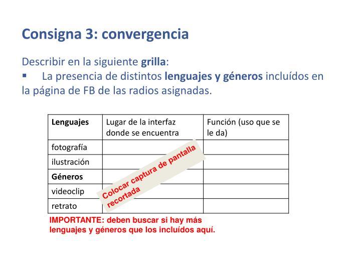 Consigna 3: convergencia