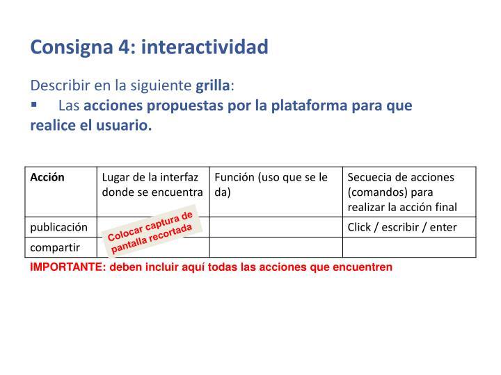 Consigna 4: interactividad