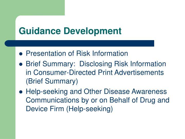 Guidance Development