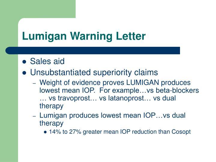 Lumigan Warning Letter