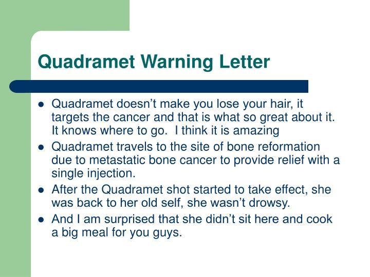Quadramet Warning Letter