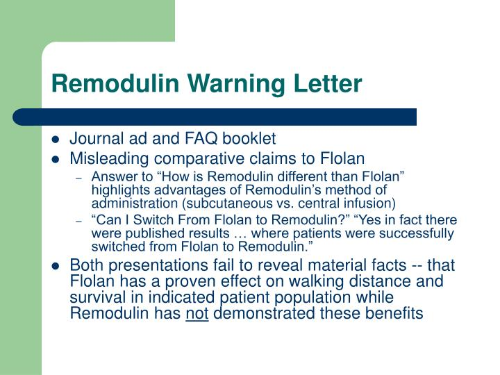 Remodulin Warning Letter