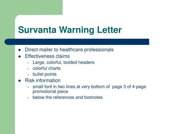 Survanta Warning Letter