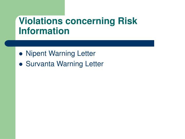 Violations concerning Risk Information