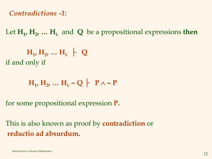 Contradictions -1: