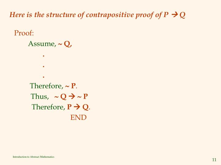 Here is the structure of contrapositive proof of P