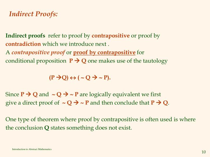 Indirect Proofs: